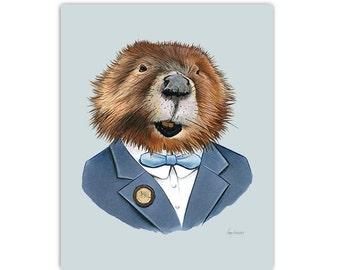 Beaver art print by Ryan Berkley 11x14