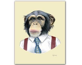 Chimpanzee art print 5x7