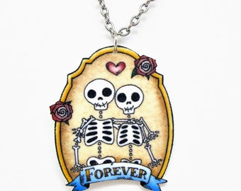 Skeleton Couple Forever Necklace