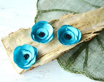 Satin fabric flowers, silk flower appliques, small satin roses, wedding flowers, fabric flower embellishments (3pcs)- TURQUOISE BLUE ROSES