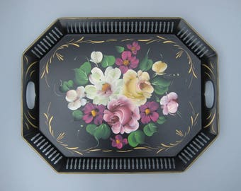 "Vintage Floral Tole Tray Rectangular Metal Tole Painted Tray Pierced Border Hand-Painted Flowers on Black Background 16"" x 20"" Toleware Tray"