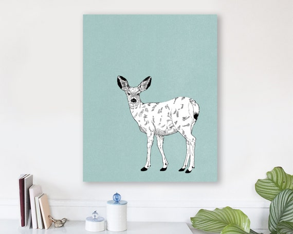 large modern wall art on canvas, minimalist fine art, colorful modern wall art, deer wall art, deer art prints, woodland nursery art - Doe