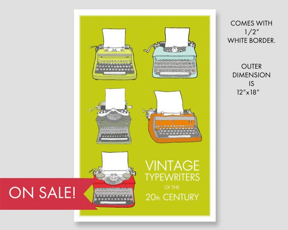Typewriters of the 20th Century - vintage typewriters, wall art, art print, large art, large wall art, mid century modern, large art prints