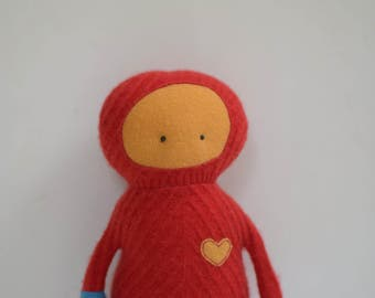 handmade cashmere Critter red Monster doll Soft sculpture upcycled cashmere sweater plush eco baby gift scuba diver doll bubynoa critters