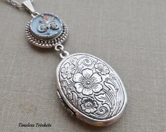 Locket Necklace, Silver Finish, Antique Button, Picture Button, Victorian Button, Yellow Flower, Orange Leaf, Blue Tint, Timeless Trinkets