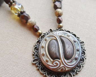 Brown Paisley, Antique Enamel Button Necklace with Czech Glass and Gold Beads, Timeless Trinkets