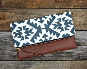 Blue Navajo Foldover Clutch / Kindle Case