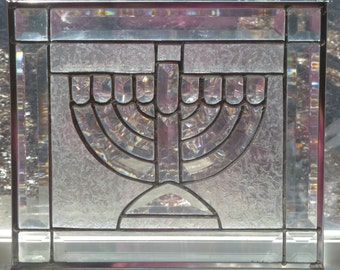 GORGEOUS All Beveled Menorah Stained Glass