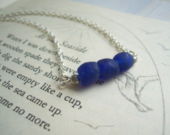 Cobalt Blue Sea Glass necklace - frosted beads on silver - beach jewellery