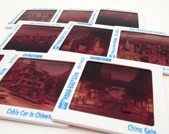 9 Vintage Souvenir Slides - San Francisco - 35mm photo slides - vintage slides - Panavue