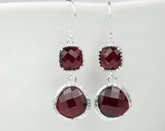 Long Garnet Silver Earrings, January Birthstone Silver Earrings, January Birthstone Jewelry, Bridesmaid Earrings, Wedding Jewelry