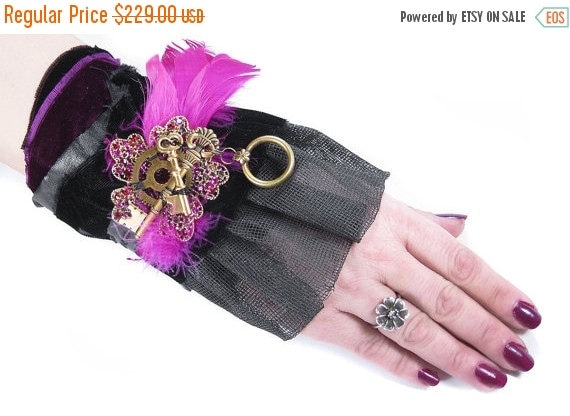 Steampunk Textile Cuff Womens GLAMOUR Wrist Black VELVeT Magenta Feathers MESH Keys Vintage RHINESTONE - Steampunk Clothing by edmdesigns