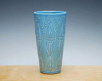 Aqua tumbler / small vase, Victorian Moroccan