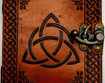 5 x 7 Triquetra leather Journal Book w/ latch, spell book, BOS, Book of Shadows, Blank leather Journal,Grimoire Pages,Book of Shadows,