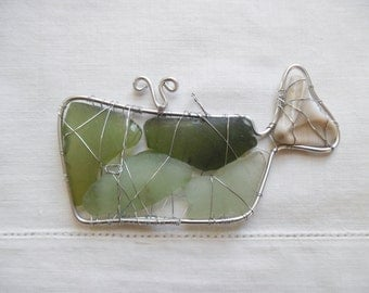 Seaglass Sperm Whale Suncatcher Ornament Sea Green Whale with Shell Tail