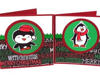 Mini Christmas Card Set, Penguin Christmas Cards, Snowman Christmas Cards, Christmas tags, 3x3 Cards, Set of 20, Mini Greeting Cards