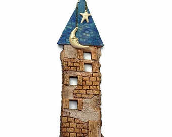Ceramic House Wall Hanging, Moon & Star, Clay House Ornament, Ceramic Wall Decor, Gift