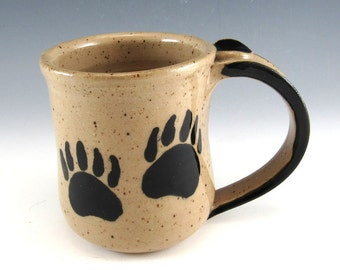Pottery Mug/Bear Tracks Stoneware Pottery Coffee Mug/Bear Claw Mug/ 10-12 Ounces