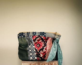 NEW//Oxford Single///Military Canvas, Primitive Textiles, and Teal Leather//Fold Over Clutch/// Pouch