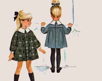 1960s Back Buttoned Yoked Dress by Designer Helen Lee McCalls 6951 Vintage 60s Sewing Pattern Toddler Girls Size 1