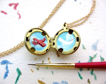 Tiny Painting Airplane Locket, Miniature Custom Art, Personalized Gift