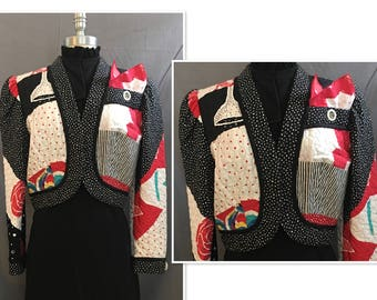 Fabulous and Fun Vintage 1980's Jeanne Marc Quilted Jacket Size Medium 12/14