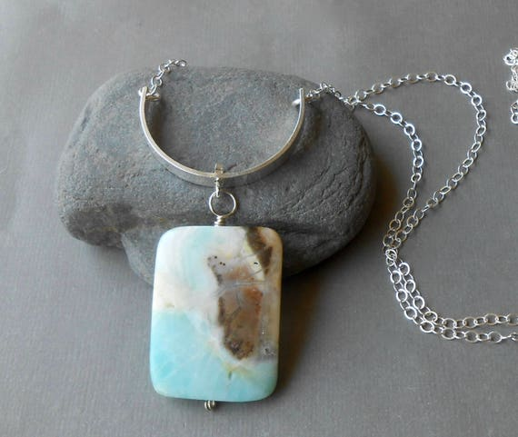 Long Sterling Silver Necklace, Stone Pendant, Boho Necklace