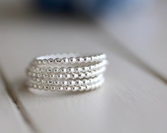 Set of Three Pebble Stacking Rings Sterling Silver Beaded Rings. Minimal Jewelry. Midi Ring