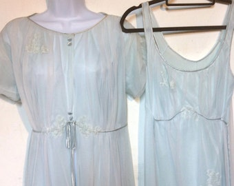 Gossard Artemis Blue Peignoir & Nightgown Set Size 36
