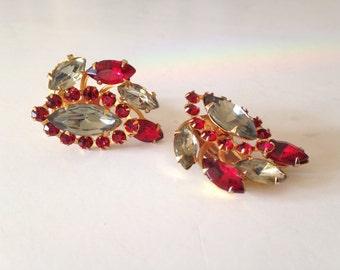 Vintage Red Rhinestone Earrings Red & Clear Rhinestone Clip on Earrings
