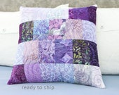 Patchwork Quilted Pillow 15x15 Modern Decorative Purple Pillow Cover Quilt Cushion Sham Small Quilted Lavender Modern Decor Handmade Pillow