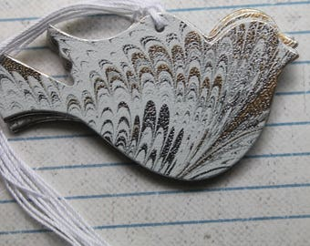 29 Bird Tags Silver with Gold Swirl/Marble patterned paper over chipboard