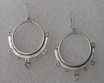 "2"" Ancient Modern Oxidized Sterling Hoop Earrings"