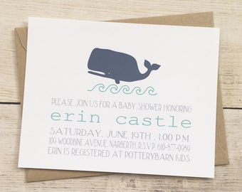 indigo whale boy baby shower invitation
