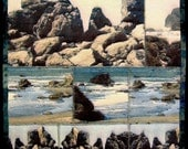 """ON SALE Postcards from the Edge -- 10x10"""" Art Quilt mounted on canvas"""