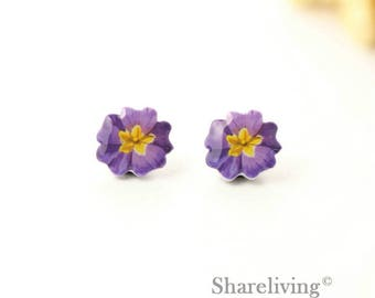 4pcs (2 pairs) Mini Purple Flower Charm / Pendant, Stud Earring, Laser Cut Tiny Purple Floral Earring, Perfect for Earring - YED027F