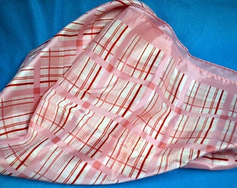 Vintage Scarf Pink and White Plaid Made in Japan 26 inch Square Scarf