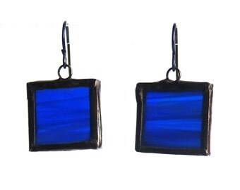Stained Glass Earrings- Blue Glass Earrings