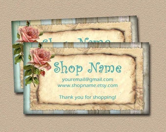 Custom Business Cards- CHaRMiNG ShAbbY Chic Rustic Wood Background -Printable DIGITAL CoLLaGe SHEET -eTSy SHoP -Personalized