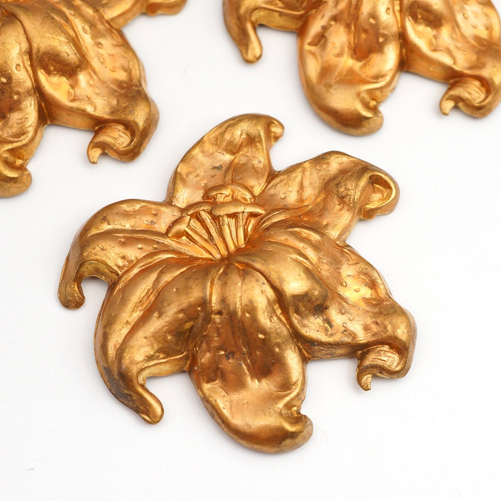 3 pcs tiger lily stampings vintage bright copper large - Tiger lily hair salon ...