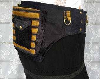 Black and gold chenille festival belt - desert festival utility belt - Burning desert Man steampunk pocket belt - utility belt - Large