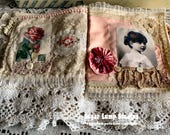Whispers of Pink OOAK Fabric Book with vintage laces and mother of pearl buttons