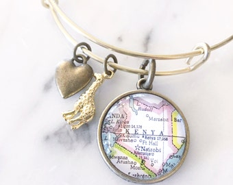 Kenya Map Charm Bangle Bracelet - Personalized Map Jewelry - Travel Wanderlust - Stacked Bangle - Africa - Giraffe Lover - Nairobi - Safari