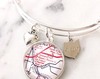 Case Western Reserve University Map Charm Bangle Bracelet - Personalized Map Jewelry - Cleveland - Ohio - School Pride - Alumni - Graduation