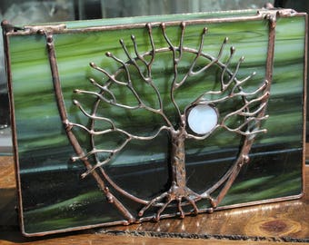 Tree of Life Green Stained Glass Box