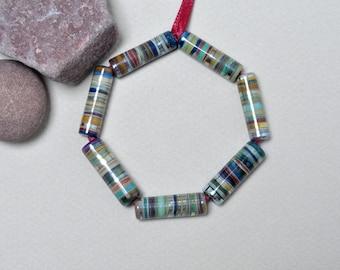 Silver tubes - Lampwork beads by Loupiac