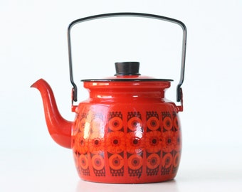 Vintage Teapot, Finel of Finland, Red Enamel Tea Kettle, designed by Kaj Franck