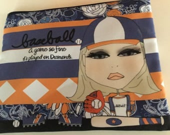 Makeup Bag 8x10 -Baseball.  A game so FINE it's played on DIAMONDS.