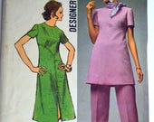 Vintage 1971 Sewing Pattern Simplicity 9358 Misses' Pullover Dress Bust 36 inches