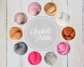 NEW *** Seashell Palette, Wool Roving Packs, Wool Roving Felting, Wool Roving for Spinning, Wool Roving for Sale, Needle Felting Supplies